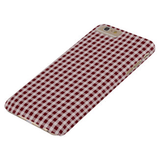 Königlicher Rosen-roter Gingham-Karo-kariertes Barely There iPhone 6 Plus Hülle