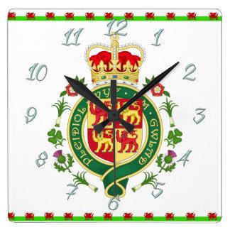 Königliches Abzeichen von Wales Quadratische Wanduhr
