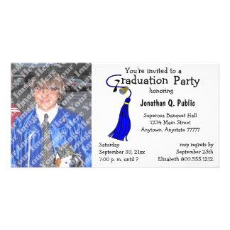 Königliches Blau-Abschluss-Party-Foto-Einladung Bilder Karten