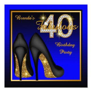 Königliches Blau-fabelhaftes 40. Geburtstags-Party Karte