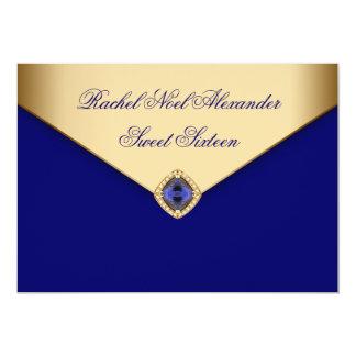 Königliches Blau-Goldjuwel 16. Geburtstag 12,7 X 17,8 Cm Einladungskarte