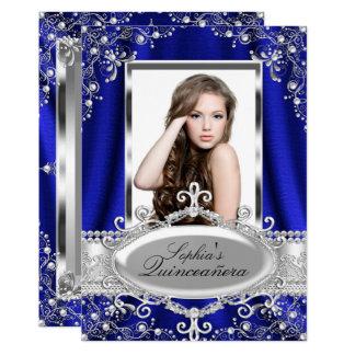 Königliches Blau-Perlen-Silk Vintager Glamour Karte