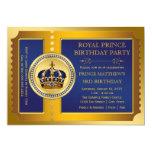 Königliches Blau-und Goldprinz Birthday Party Einladungskarte