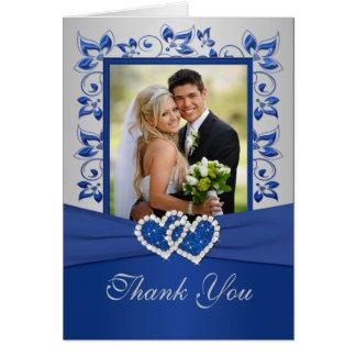 Königliches Blau und Silber danken Ihnen, mit Foto Grußkarte