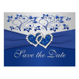 Königliches Blau-und Silber-Save the Date Karte Postkarten