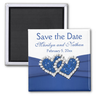 Königliches Blau-und Weiß-Gastgeschenk Hochzeits-M Quadratischer Magnet