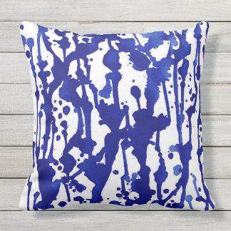 Königliches BlauWatercolor abstrakt Kissen Für Draußen