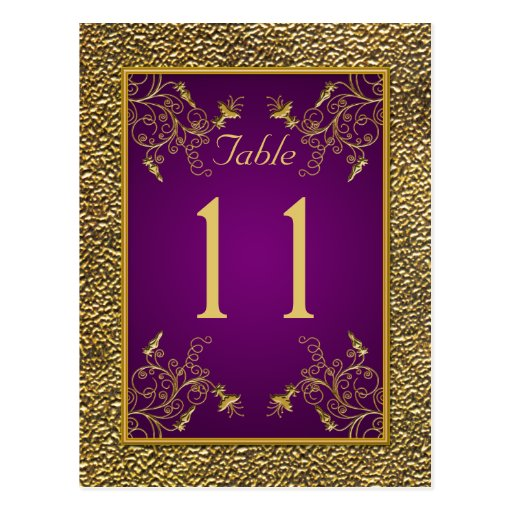 Königliches Lila, GoldblumenTischnummer-Postkarte