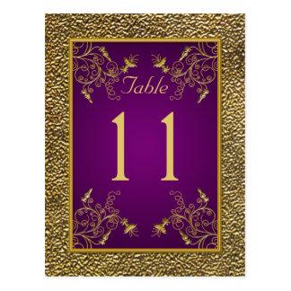 Königliches Lila, GoldblumenTischnummer-Postkarte Postkarte