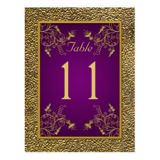 Königliches Lila, GoldblumenTischnummer-Postkarte Postkarten