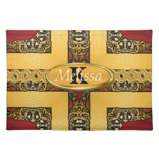 Königliches Rot u. Goldverziertes Monogramm Tischset
