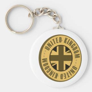 Königreich-Flaggen-Goldmünze Schlüsselanhänger