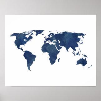 Königsblau-Aquarell-Weltkarte Poster