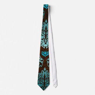 Königsblau auf dem Retro Damast-Luxus Browns Krawatte