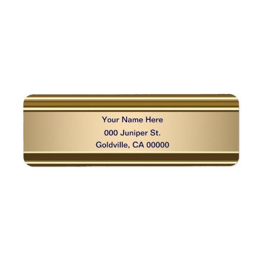 Königsblau auf Goldglänzendem Blick Rücksendeetikett