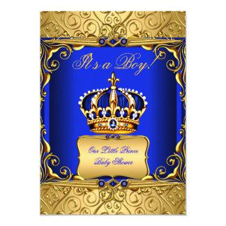 Königsblau-Damast-Goldkronen-Babyparty-Junge bs2 12,7 X 17,8 Cm Einladungskarte