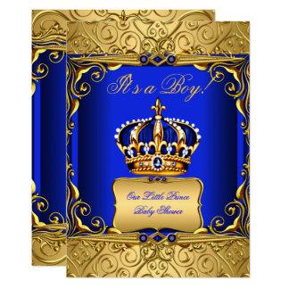 Königsblau-Damast-Goldkronen-Babyparty-Junge bs2 Karte