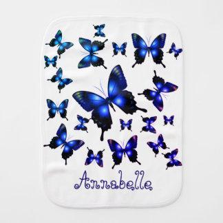 Königsblau-elegante wunderliche Schmetterlinge Baby Spucktuch