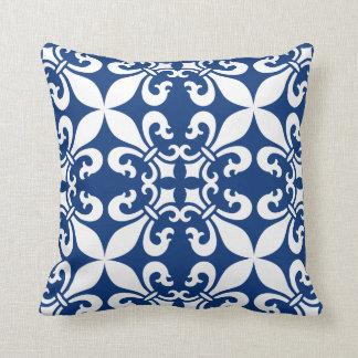 Königsblau French Fleur de Lys Pattern Kissen