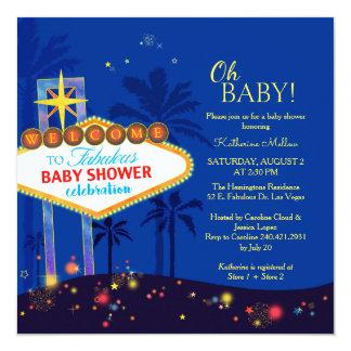 Königsblau-Las Vegas-Babyparty-Einladung Quadratische 13,3 Cm Einladungskarte