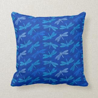 Königsblau-Libellen-dekoratives Muster Kissen