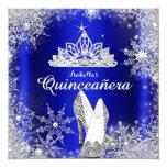 Königsblau Quinceanera silberne Tiara-15. Quadratische 13,3 Cm Einladungskarte