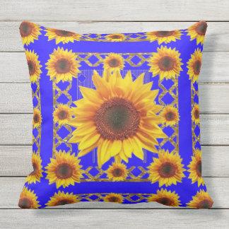 Königsblau-Sonnenblume-Muster Kissen Für Draußen