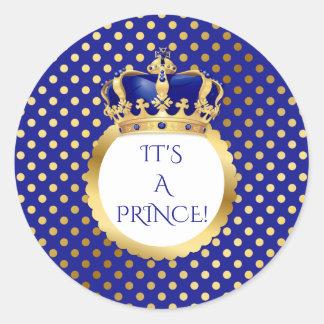 Königsblau-u. Goldkleiner Prinz Crown Runder Aufkleber