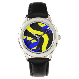 Königsblau-und Gelb-Mode-Uhr durch Julie Uhr