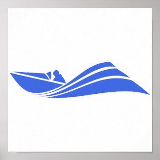 Königsblau-und Weiß-Geschwindigkeits-Boot Poster