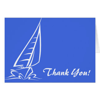 Königsblau-und Weiß-Segeln; Segel-Boot Mitteilungskarte