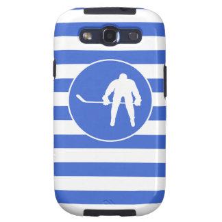 Königsblau-und Weiß-Streifen Hockey Galaxy S3 Hülle