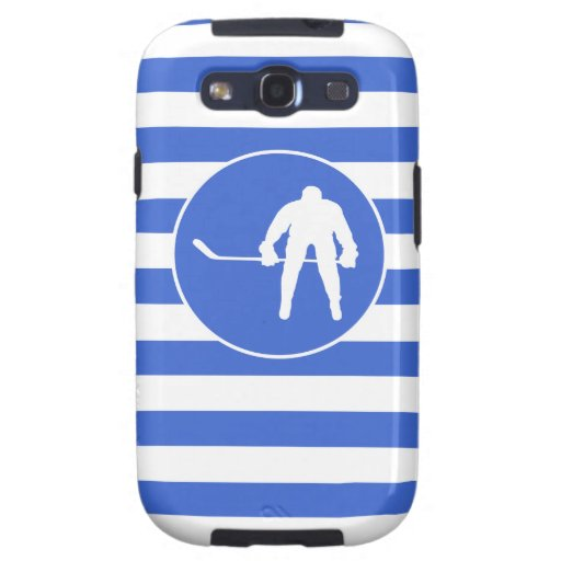Königsblau-und Weiß-Streifen; Hockey Galaxy S3 Hülle