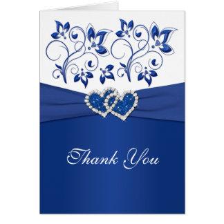 Königsblau und Weiß verbindende Herzen danken Grußkarte