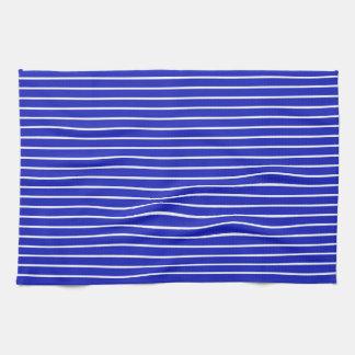 Königsblau-und weißehorizontale Streifen Handtücher
