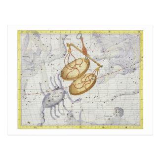 Konstellation der Waage, überziehen 7 'vom Atlas Postkarte
