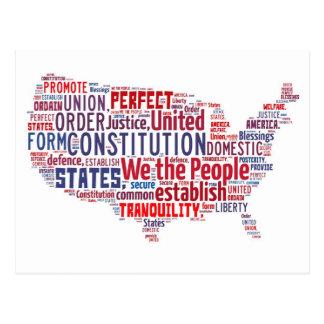 Konstitution der Vereinigten Staaten in der Form Postkarte