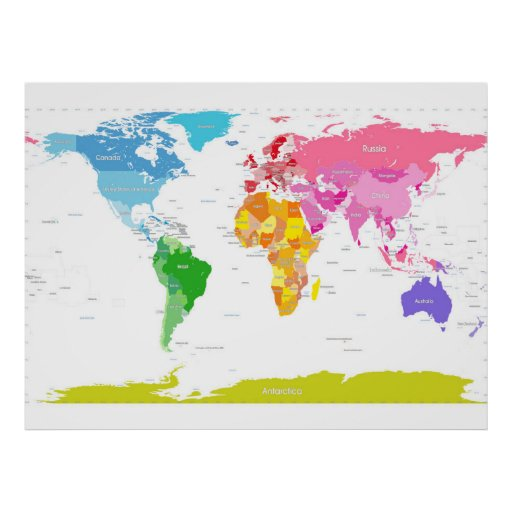 Kontinent-Weltkarte Poster