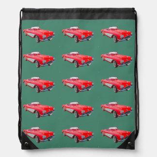 Konvertierbares klassisches Auto 1958 Rot-Korvette Turnbeutel