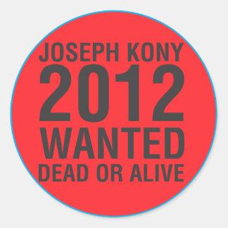 Kony2012 wollte toten oder lebendigen runden Aufkl Runde Sticker