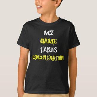 Konzentration kardiert verrücktes gelbes Weiß T-Shirt