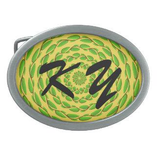 Konzentrische Blatt-Ringe durch Kenneth Yoncich Ovale Gürtelschnallen