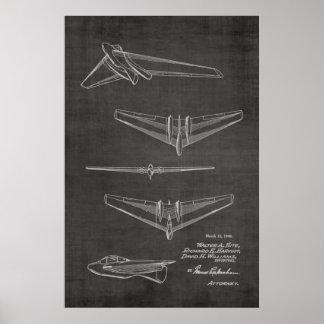 Konzept-Jet-Flugzeug-Patent-Kunst 1946, die Druck Poster