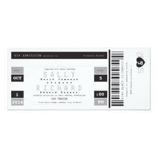 Konzert-Karten-Einladung Schwarz-weiß und grau 10,2 X 23,5 Cm Einladungskarte