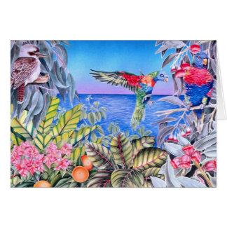 Kookaburra und Regenbogen Lorikeets Karte