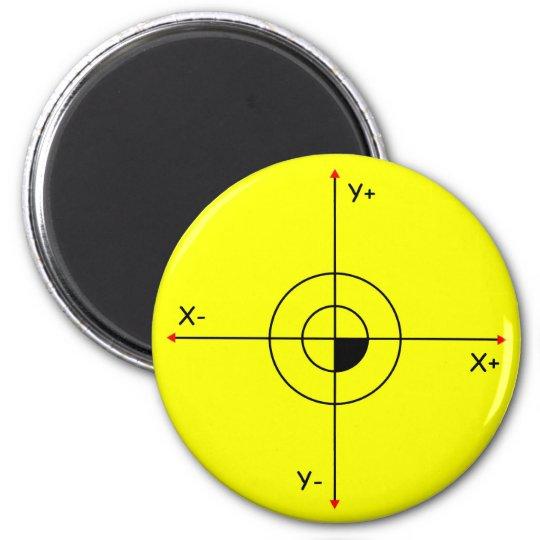 Koordinatenkreuz Yellow Runder Magnet 5,7 Cm