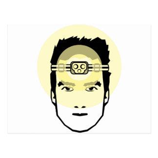 Kopf-angebrachte Taschenlampe Postkarte