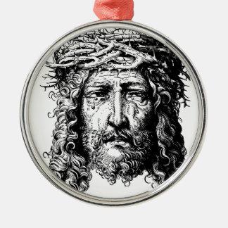 Kopf des Jesus Christus Silbernes Ornament