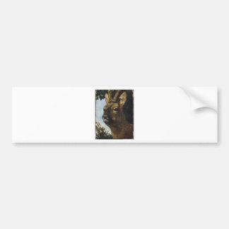 Kopf einer jungen Damhirschkuh durch Gustave Autoaufkleber