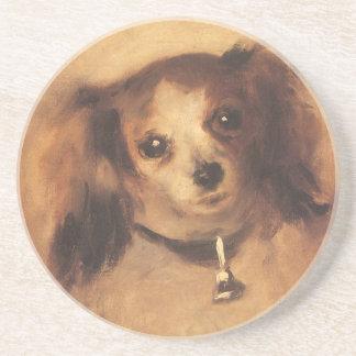 Kopf eines Hundes durch Pierre Renoir, Vintage Sandstein Untersetzer